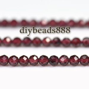 Shop Garnet Faceted Beads! 15 inch strand of wine red Garnet faceted round beads 3mm | Natural genuine faceted Garnet beads for beading and jewelry making.  #jewelry #beads #beadedjewelry #diyjewelry #jewelrymaking #beadstore #beading #affiliate #ad