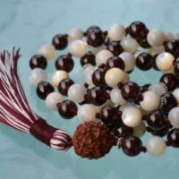 Garnet, Mother Of Pearl, Semi Precious Mala Beads 108, Knotted Prayer Beads, Meditation, Japa, Yoga, Red, White, Energize, Root Chakra | Natural genuine Gemstone jewelry. Buy crystal jewelry, handmade handcrafted artisan jewelry for women.  Unique handmade gift ideas. #jewelry #beadedjewelry #beadedjewelry #gift #shopping #handmadejewelry #fashion #style #product #jewelry #affiliate #ad