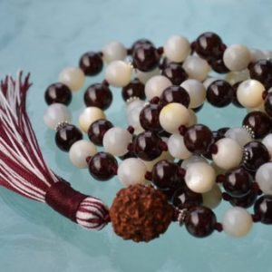 Shop Garnet Necklaces! Garnet, Mother Of Pearl, Semi Precious Mala Beads 108, Knotted Prayer Beads, Meditation, Japa, Yoga, Red, White, Energize, Root Chakra | Natural genuine Garnet necklaces. Buy crystal jewelry, handmade handcrafted artisan jewelry for women.  Unique handmade gift ideas. #jewelry #beadednecklaces #beadedjewelry #gift #shopping #handmadejewelry #fashion #style #product #necklaces #affiliate #ad