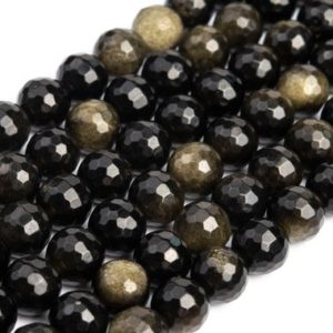 Shop Golden Obsidian Beads! Genuine Natural Golden Obsidian Loose Beads Micro Faceted Round Shape 5-6mm 7-8mm 9mm 11mm | Natural genuine faceted Golden Obsidian beads for beading and jewelry making.  #jewelry #beads #beadedjewelry #diyjewelry #jewelrymaking #beadstore #beading #affiliate #ad