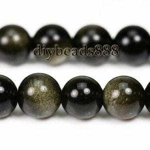 Golden Obsidian,15 inch full strand Grade AA Golden Obsidian smooth round bead,Gold,gemstone,diy bead,4mm 6mm  8mm 10mm 12mm 14mm for Choice | Natural genuine round Gemstone beads for beading and jewelry making.  #jewelry #beads #beadedjewelry #diyjewelry #jewelrymaking #beadstore #beading #affiliate #ad
