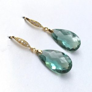 Shop Green Amethyst Earrings! Green Amethyst gold earrings. Pave vermail earwires. Pale mint. Statement jewelry. Gemstone. February birthstone   Natural genuine Green Amethyst earrings. Buy crystal jewelry, handmade handcrafted artisan jewelry for women.  Unique handmade gift ideas. #jewelry #beadedearrings #beadedjewelry #gift #shopping #handmadejewelry #fashion #style #product #earrings #affiliate #ad