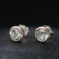 Green Amethyst Stud Earrings In 9k Rose Gold – Green Gemstone Rose Gold Earrings | Natural genuine Gemstone jewelry. Buy crystal jewelry, handmade handcrafted artisan jewelry for women.  Unique handmade gift ideas. #jewelry #beadedjewelry #beadedjewelry #gift #shopping #handmadejewelry #fashion #style #product #jewelry #affiliate #ad