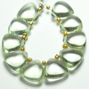 Shop Green Amethyst Beads! AAA Natural Green Amethyst Trillion Beads 10mm Smooth Trillion Shape Briolettes Gemstone Beads Rare Amethyst Stone Beads (10 Pieces) No4970   Natural genuine other-shape Green Amethyst beads for beading and jewelry making.  #jewelry #beads #beadedjewelry #diyjewelry #jewelrymaking #beadstore #beading #affiliate #ad