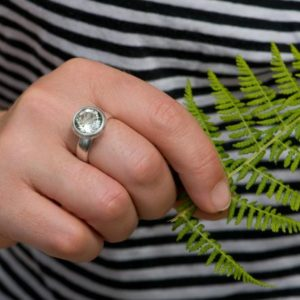 Shop Green Amethyst Rings! Big Pale Green Amethyst Ring – Large Round Amethyst In Sterling Silver | Natural genuine Green Amethyst rings, simple unique handcrafted gemstone rings. #rings #jewelry #shopping #gift #handmade #fashion #style #affiliate #ad