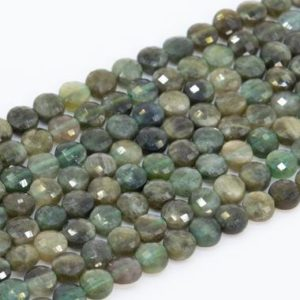 Shop Green Tourmaline Beads! Genuine Natural Green Tourmaline Loose Beads Grade AA Faceted Flat Round Button Shape 4mm | Natural genuine faceted Green Tourmaline beads for beading and jewelry making.  #jewelry #beads #beadedjewelry #diyjewelry #jewelrymaking #beadstore #beading #affiliate #ad