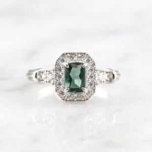 Shop Green Tourmaline Rings! Cynthia Natural Tourmaline Ring- Sterling Silver Ring- Green Tourmaline Engagement Ring- Promise Ring- October Birthstone- Gift For Her | Natural genuine Green Tourmaline rings, simple unique alternative gemstone engagement rings. #rings #jewelry #bridal #wedding #jewelryaccessories #engagementrings #weddingideas #affiliate #ad