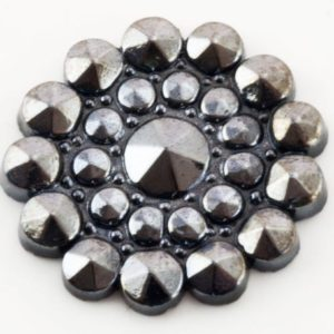 Shop Hematite Stones & Crystals! Hematite Cabochon, 24Pcs 18mm Round Carved Flat Back Faceted Semi-Precious Flower, Vintage Japanese Deadstock, DIY Jewelry Supplies | Natural genuine stones & crystals in various shapes & sizes. Buy raw cut, tumbled, or polished gemstones for making jewelry or crystal healing energy vibration raising reiki stones. #crystals #gemstones #crystalhealing #crystalsandgemstones #energyhealing #affiliate #ad