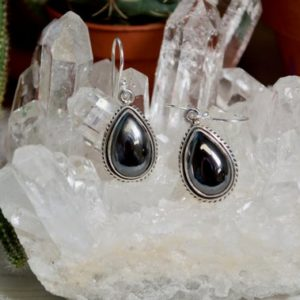 Shop Hematite Earrings! Rope Detail Teardrop Hematite Stone Earrings // Hematite Jewelry // Metaphysical Jewelry // Sterling Silver // Village Silversmith | Natural genuine Hematite earrings. Buy crystal jewelry, handmade handcrafted artisan jewelry for women.  Unique handmade gift ideas. #jewelry #beadedearrings #beadedjewelry #gift #shopping #handmadejewelry #fashion #style #product #earrings #affiliate #ad