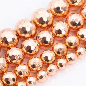 18k Rose Gold Tone Hematite Beads Grade AAA Natural Gemstone Micro Faceted Round Loose Beads 5-6MM 8MM 9-10MM 11-12MM Bulk Lot Options | Natural genuine faceted Hematite beads for beading and jewelry making.  #jewelry #beads #beadedjewelry #diyjewelry #jewelrymaking #beadstore #beading #affiliate #ad