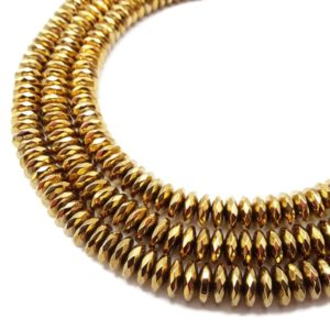 """Shop Hematite Faceted Beads! Gold Plated Hematite Faceted Rondelle Beads 3x8mm 3x10mm 16"""" Strand 