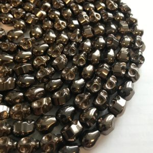 Hematite 10x8mm Carved Skull Gemstone Beads-15.5 inch strand | Natural genuine other-shape Gemstone beads for beading and jewelry making.  #jewelry #beads #beadedjewelry #diyjewelry #jewelrymaking #beadstore #beading #affiliate #ad