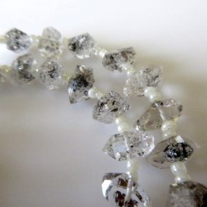 10mm To 11mm Centre Side Drilled Herkimer Diamond Nugget, Raw Herkimer Diamond Tumble Beads, 12 Inch Strand, Gds743 | Natural genuine chip Gemstone beads for beading and jewelry making.  #jewelry #beads #beadedjewelry #diyjewelry #jewelrymaking #beadstore #beading #affiliate #ad