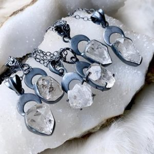 Shop Herkimer Diamond Necklaces! Herkimer Diamond necklace, crescent moon necklace | Natural genuine Herkimer Diamond necklaces. Buy crystal jewelry, handmade handcrafted artisan jewelry for women.  Unique handmade gift ideas. #jewelry #beadednecklaces #beadedjewelry #gift #shopping #handmadejewelry #fashion #style #product #necklaces #affiliate #ad