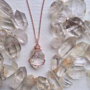 Shop Herkimer Diamond Necklaces! Raw Herkimer Diamond Necklace – Double Terminated Quartz Crystal – 100% Rose Gold or Yellow Gold Filled Wire and 18 Inch Cable Chain – MTO | Natural genuine Herkimer Diamond necklaces. Buy crystal jewelry, handmade handcrafted artisan jewelry for women.  Unique handmade gift ideas. #jewelry #beadednecklaces #beadedjewelry #gift #shopping #handmadejewelry #fashion #style #product #necklaces #affiliate #ad