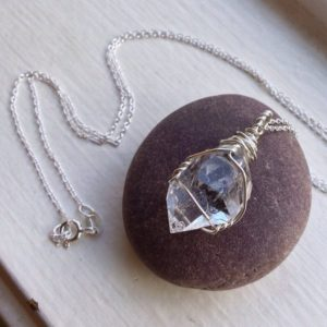 Herkimer Diamond (Raw) Necklace – Double Terminated Quartz Crystal – .925 Ecofriendly Sterling Silver – Made to Order | Natural genuine Herkimer Diamond necklaces. Buy crystal jewelry, handmade handcrafted artisan jewelry for women.  Unique handmade gift ideas. #jewelry #beadednecklaces #beadedjewelry #gift #shopping #handmadejewelry #fashion #style #product #necklaces #affiliate #ad
