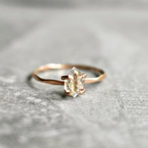 Shop Herkimer Diamond Rings! Herkimer Diamond Ring, Flawless Herkimer Diamond, Rose Gold Fill Rough Crystal Jewelry, Valentines Jewelry, April Birthday Aries Zodiac, 7.5 | Natural genuine Herkimer Diamond rings, simple unique handcrafted gemstone rings. #rings #jewelry #shopping #gift #handmade #fashion #style #affiliate #ad