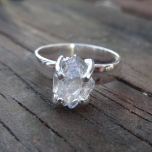 Shop Herkimer Diamond Rings! Sterling Silver Natural Herkimer Diamond Ring Size 7 – double-terminated quartz crystal ring – Natural Stone Ring size 7 – Diamond Ring | Natural genuine Herkimer Diamond rings, simple unique handcrafted gemstone rings. #rings #jewelry #shopping #gift #handmade #fashion #style #affiliate #ad