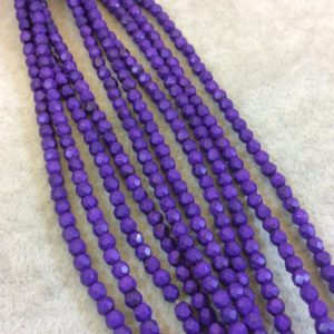 """Shop Howlite Faceted Beads! 4mm Faceted Dyed Purple Howlite Round/Ball Shaped Beads – Sold by 15.75"""" Strands (Approx. 106 Beads) – Natural Semi-Precious Gemstone 
