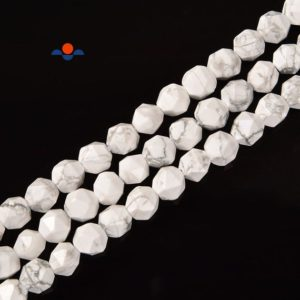 Shop Howlite Faceted Beads! Natural Howlite Faceted Star Cut Beads Size 8mm 15.5'' Strand | Natural genuine faceted Howlite beads for beading and jewelry making.  #jewelry #beads #beadedjewelry #diyjewelry #jewelrymaking #beadstore #beading #affiliate #ad