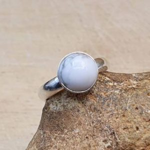 Shop Howlite Rings! Minimalist White Howlite ring. 925 sterling silver rings for women. Reiki jewelry uk. Gemini jewelry. Women's Adjustable ring. 8mm stone | Natural genuine Howlite rings, simple unique handcrafted gemstone rings. #rings #jewelry #shopping #gift #handmade #fashion #style #affiliate #ad