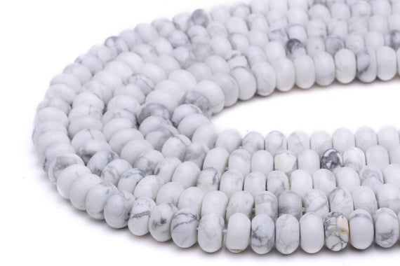"""Howlite Smooth Rondelle Beads 5x8mm 6x10mm Approx 15.5"""" Strand"""
