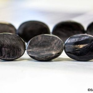"""L / Hypersthene 18x25mm Flat Oval Loose Beads 15.5"""" Strand Stabilized Well Polished Black Hypersthene Large Beads For Jewelry Making 