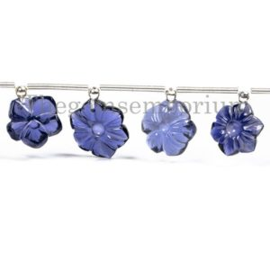 Extremely Rare Iolite Flower Carving Beads, Iolite Fancy Beads, Carving Beads, Iolite Beads, Iolite Flower Beads, Flower Carving Beads | Natural genuine other-shape Gemstone beads for beading and jewelry making.  #jewelry #beads #beadedjewelry #diyjewelry #jewelrymaking #beadstore #beading #affiliate #ad