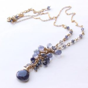 Shop Iolite Pendants! Iolite Gold Filled Y Necklace wire wrapped violet blue natural gemstone cluster pendant bohemian mothers day gift for women mom wife 6048   Natural genuine Iolite pendants. Buy crystal jewelry, handmade handcrafted artisan jewelry for women.  Unique handmade gift ideas. #jewelry #beadedpendants #beadedjewelry #gift #shopping #handmadejewelry #fashion #style #product #pendants #affiliate #ad