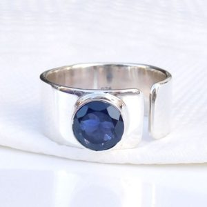 Shop Iolite Rings! Natural Iolite Ring, 7 mm Round Iolite Ring, Blue Iolite Ring, Natural Blue Ring, Adjustable Ring, Solid Silver Ring, Handmade Ring- U192 | Natural genuine Iolite rings, simple unique handcrafted gemstone rings. #rings #jewelry #shopping #gift #handmade #fashion #style #affiliate #ad