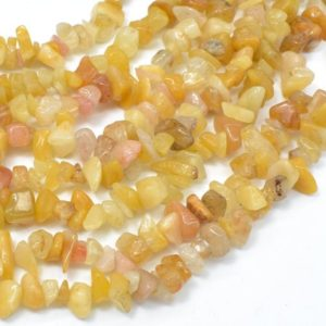 Shop Jade Chip & Nugget Beads! Yellow Jade Beads, 4-9 mm Chips Beads, 34 Inch, Full strand, Hole 0.8 mm (440005001) | Natural genuine chip Jade beads for beading and jewelry making.  #jewelry #beads #beadedjewelry #diyjewelry #jewelrymaking #beadstore #beading #affiliate #ad