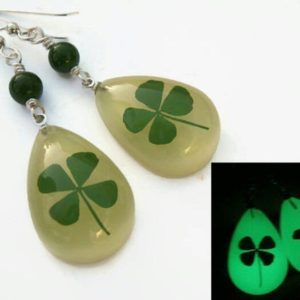 Shop Jade Earrings! Four Leaf Clover Earrings, GLOW In The DARK, Sterling Silver, REAL Pressed Clover Earrings, Botanical Drop Jade Earrings, St Patricks Day | Natural genuine Jade earrings. Buy crystal jewelry, handmade handcrafted artisan jewelry for women.  Unique handmade gift ideas. #jewelry #beadedearrings #beadedjewelry #gift #shopping #handmadejewelry #fashion #style #product #earrings #affiliate #ad