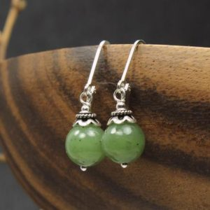 Shop Jade Earrings! Nephrite Jade Earrings Sterling Silver natural green gemstones classic simple everyday dangle drops birthday Mother's Day gift women 6379 | Natural genuine Jade earrings. Buy crystal jewelry, handmade handcrafted artisan jewelry for women.  Unique handmade gift ideas. #jewelry #beadedearrings #beadedjewelry #gift #shopping #handmadejewelry #fashion #style #product #earrings #affiliate #ad