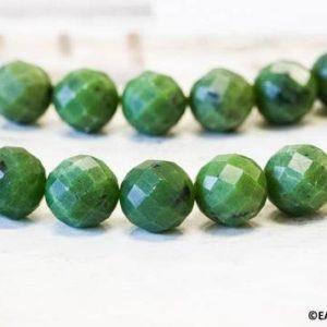 """Shop Jade Necklaces! L/ Green Jade 18mm/ 16mm Faceted Round Beads 15.5"""" long, Nephrite Jade Faceted Beads, Natural Canadian Jade For Necklace Jewelry Designs 