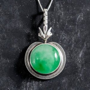 Shop Jade Jewelry! Jade Pendant, Large Jade Pendant, Natural Jade Pendant, Vintage Pendants, Green Pendant, Unique Pendant, Round Pendant, Silver Pendant, Jade | Natural genuine Jade jewelry. Buy crystal jewelry, handmade handcrafted artisan jewelry for women.  Unique handmade gift ideas. #jewelry #beadedjewelry #beadedjewelry #gift #shopping #handmadejewelry #fashion #style #product #jewelry #affiliate #ad