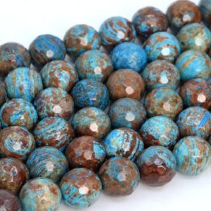 Shop Jasper Faceted Beads! Natural Blue Green Calsilica Jasper Loose Beads Micro Faceted Round Shape 6mm 8mm 10mm 12mm | Natural genuine faceted Jasper beads for beading and jewelry making.  #jewelry #beads #beadedjewelry #diyjewelry #jewelrymaking #beadstore #beading #affiliate #ad