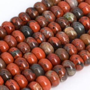 Shop Jasper Rondelle Beads! Genuine Natural Red Breccia Jasper Loose Beads Grade AAA Rondelle Shape 6x4mm 8x5mm | Natural genuine rondelle Jasper beads for beading and jewelry making.  #jewelry #beads #beadedjewelry #diyjewelry #jewelrymaking #beadstore #beading #affiliate #ad