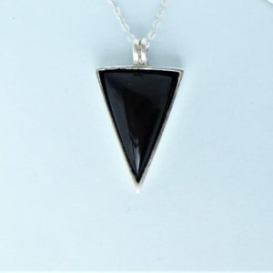 Shop Jet Jewelry! Whitby Jet & Sterling Silver Triangular Pendant | Natural genuine Jet jewelry. Buy crystal jewelry, handmade handcrafted artisan jewelry for women.  Unique handmade gift ideas. #jewelry #beadedjewelry #beadedjewelry #gift #shopping #handmadejewelry #fashion #style #product #jewelry #affiliate #ad
