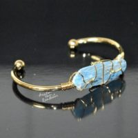 Kyanite Bangle Bracelet * Gold Plated 18k Or Silver Plated * Gemstone * Gypsy * Hippie * Adjustable * Statement * Stacking *christmas | Natural genuine Gemstone jewelry. Buy crystal jewelry, handmade handcrafted artisan jewelry for women.  Unique handmade gift ideas. #jewelry #beadedjewelry #beadedjewelry #gift #shopping #handmadejewelry #fashion #style #product #jewelry #affiliate #ad