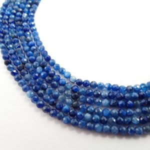 """Shop Kyanite Beads! Natural Kyanite Faceted Round Beads Size 4mm 15.5"""" Strand 
