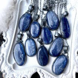 Shop Kyanite Jewelry! Blue kyanite necklace | Natural genuine Kyanite jewelry. Buy crystal jewelry, handmade handcrafted artisan jewelry for women.  Unique handmade gift ideas. #jewelry #beadedjewelry #beadedjewelry #gift #shopping #handmadejewelry #fashion #style #product #jewelry #affiliate #ad