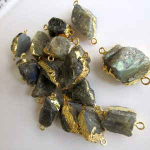 Shop Labradorite Chip & Nugget Beads! Raw Labradorite Connectors, Gemstone Connectors, Raw Labradorite Beads, 5 Pieces, 18mm To 24mm Approx   Natural genuine chip Labradorite beads for beading and jewelry making.  #jewelry #beads #beadedjewelry #diyjewelry #jewelrymaking #beadstore #beading #affiliate #ad