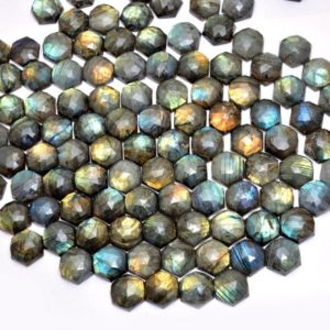 Shop Labradorite Faceted Beads! Labradorite Gemstone 20mm Faceted Hexagon Cabochon | Natural Multi Fire Labradorite Loose Semi Precious Gemstone Cabochon for Jewelry Making | Natural genuine faceted Labradorite beads for beading and jewelry making.  #jewelry #beads #beadedjewelry #diyjewelry #jewelrymaking #beadstore #beading #affiliate #ad