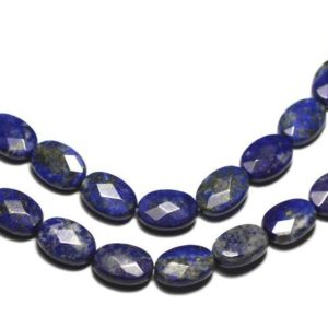 Shop Lapis Lazuli Faceted Beads! 2PC – stone – Lapis Lazuli faceted oval 14x10mm – 8741140019584 beads | Natural genuine faceted Lapis Lazuli beads for beading and jewelry making.  #jewelry #beads #beadedjewelry #diyjewelry #jewelrymaking #beadstore #beading #affiliate #ad