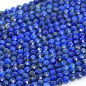 """2-3MM Lapis Lazuli Beads Afghanistan AA Genuine Natural Gemstone Full Strand Faceted Round Loose Beads 15"""" Bulk Lot Options (107666-2501) 