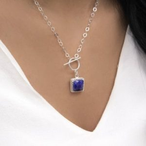 Shop Lapis Lazuli Jewelry! lapis lazuli necklace · September birthstone necklace · gemstone necklace · toggle clasp necklace | Natural genuine Lapis Lazuli jewelry. Buy crystal jewelry, handmade handcrafted artisan jewelry for women.  Unique handmade gift ideas. #jewelry #beadedjewelry #beadedjewelry #gift #shopping #handmadejewelry #fashion #style #product #jewelry #affiliate #ad