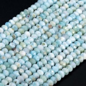 Shop Larimar Faceted Beads! Genuine Natural Light Blue Larimar Loose Beads Faceted Rondelle Shape 4x3mm | Natural genuine faceted Larimar beads for beading and jewelry making.  #jewelry #beads #beadedjewelry #diyjewelry #jewelrymaking #beadstore #beading #affiliate #ad