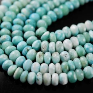 Shop Larimar Faceted Beads! Half strand of Larimar faceted rondelles | Natural genuine faceted Larimar beads for beading and jewelry making.  #jewelry #beads #beadedjewelry #diyjewelry #jewelrymaking #beadstore #beading #affiliate #ad