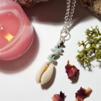 Larimar And Seashell Necklace – Calm | Natural genuine Gemstone jewelry. Buy crystal jewelry, handmade handcrafted artisan jewelry for women.  Unique handmade gift ideas. #jewelry #beadedjewelry #beadedjewelry #gift #shopping #handmadejewelry #fashion #style #product #jewelry #affiliate #ad