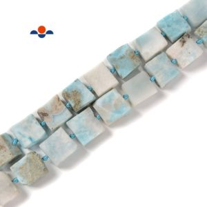 Shop Larimar Bead Shapes! Natural Larimar Matte Square Beads Size 11-13mm 15.5'' Strand | Natural genuine other-shape Larimar beads for beading and jewelry making.  #jewelry #beads #beadedjewelry #diyjewelry #jewelrymaking #beadstore #beading #affiliate #ad